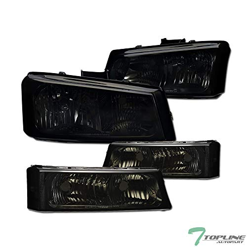 Topline Autopart Smoke Euro Sport Crystal Head Lights Headlight + Bumper Signal Light Lamp NB 4PC For 03-07 Chevy Silverado 1500 2500 3500