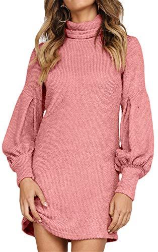 Long Sleeve Bishop Sleeve Lantern Sleeve Turtleneck Ribbed Rib Knit Sweater Jumper Tunic Mini Bodycon Dress Pink S