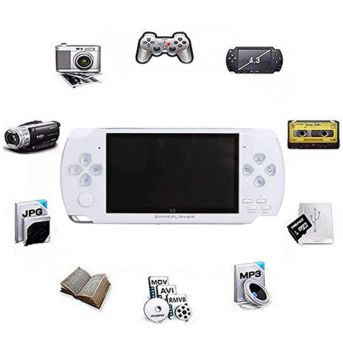 SONADY Portable Handheld Game Player 4.3 inch 8GB 32Bit TV Video Game Console Built-in 1000+ Childhood Classic Games TV Output,White ()
