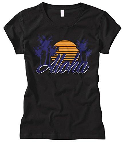 Cybertela Women's Aloha Hawaiian Hi Sunset Palm Tree Fitted T-Shirt (Black, - Stores Waikiki Clothing