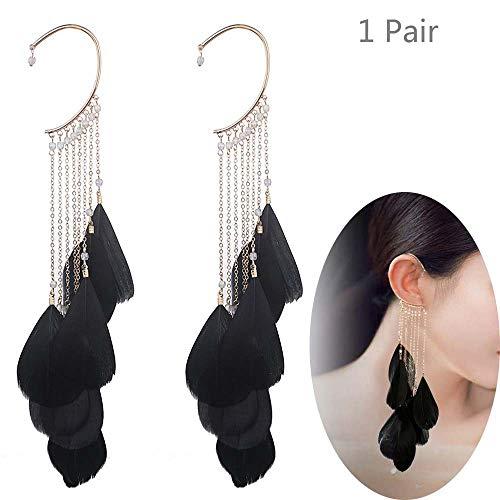 Daimay Ear Crawler Climber Womens Tassel Feather Long Ear Wrap Charm Cuff Earring Non Pierced Drop Dangle Earrings for Women - Black