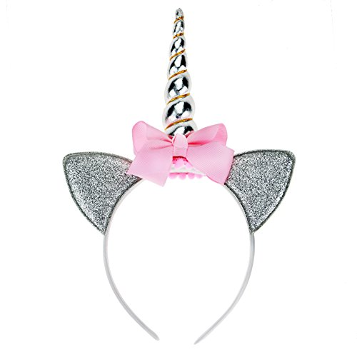 Unicorn Horn Costume Headband (Aiernuo Shiny Unicorn Horn Headband Cosplay Costume Halloween Decorations Headwear (Silver + Pink Bowknot))