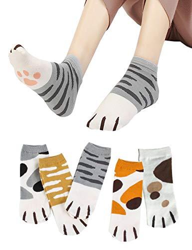 中庭書誌ジャケットItsYou レディース猫柄ソックス 5足セット 女子 ショートソックス 靴下 くつした おしゃれ アンクルソックス