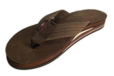 Rainbow Sandals Men's Double Layer Leather Sandal (M, Mocha)