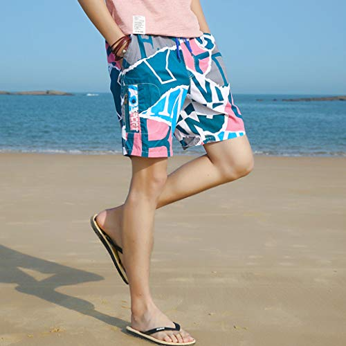 NUWFOR Men's Summer New Cotton Printed Short Sleeves Fashion Loose Size Beach Pants(Pink,US XL Waist:30.71-38.58'') by NUWFOR (Image #1)
