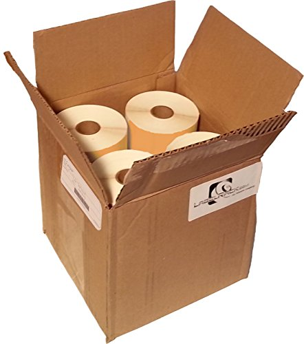 "4"" x 3"" Floodcoated Top-coated Direct Thermal Labels (Light Visible) with 4"" O.D, Perforated Each, Wound Out, 1"" Core, 6000 Labels/Case, 500 Labels/Roll, 12 Rolls/Case - Orange"