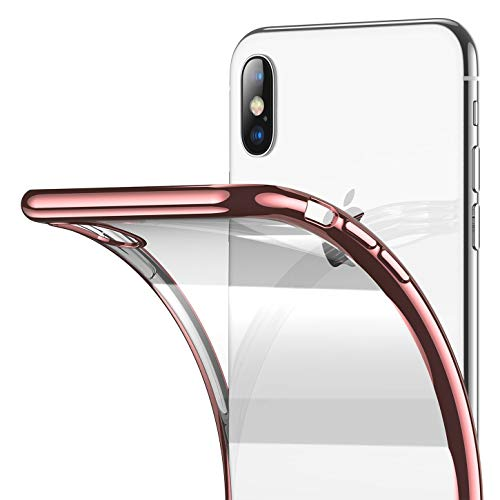 Clear iPhone Xs Max Case, RANVOO Soft Silicone Cover with Rose Gold Electroplated Bumper Thin Slim Fit Case for iPhone Xs Max 6.5 Inch (2018), Rose Gold