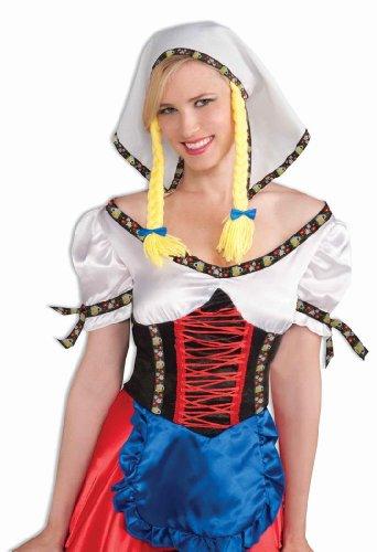 German Fraulein Headpiece with Pigtails (German Fancy Dress Ladies)