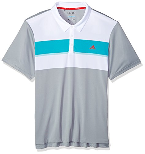 adidas Golf Men's Climacool Engineered Block Polo, Mid Grey White/Energy Blue/Ice Blue, (Adidas Polo Shirt)
