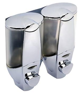 formschöner dispensador de jabón Vera para dos diferentes - Dispensador de jabón líquido, champú, gel de ducha, loción a la pared Fijación también sin ...