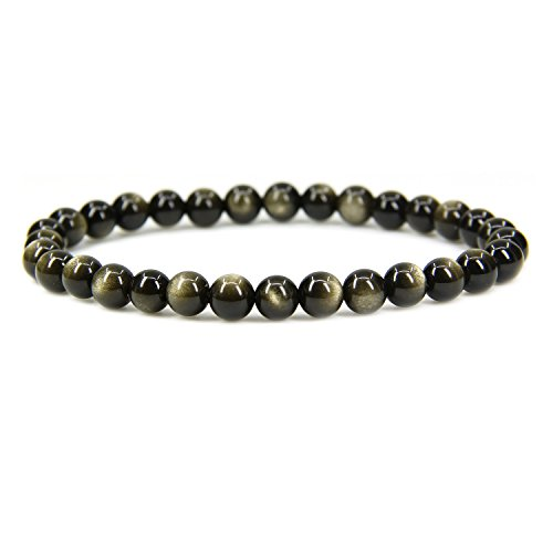 (Natural Golden Obsidian Gemstone 6mm Round Beads Stretch Bracelet 7