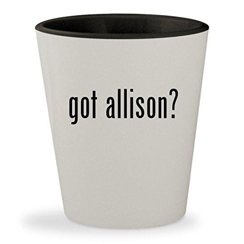 Got Allison    White Outer   Black Inner Ceramic 1 5Oz Shot Glass