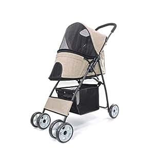 Pet stroller Four-Wheeled Pet Stroller, Pet Stroller,Collapsible Pet Stroller, Small Pet Stroller,Pet Supplies, Lightweight and Portable Pet Stroller, for Small and Medium Pets (Color : Khaki)