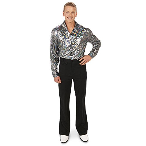 [Silver Disco Shirt Adult Costume L] (Disco Diva Halloween Costume)