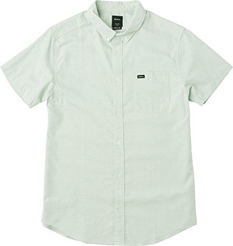 Haze Green - RVCA Men's Thatll DO Stretch Short Sleeve Woven Button up Shirt, Green Haze, XXL