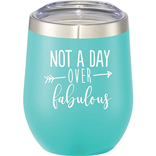 Not A Day Over Fabulous | Birthday Wine Glass | 12 oz Mint Stainless Steel Stemless Wine Tumbler with Lid – Perfect Birthday Gift for Her