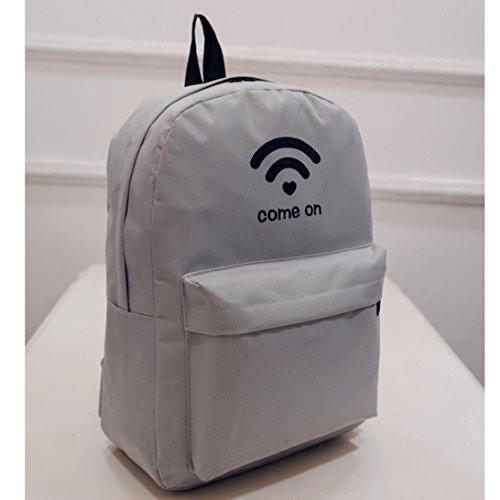 Clode® Bolsos de hombro mujeres de los hombres de la lona personalizada WiFi Impresión Mochila Gris