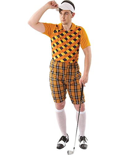 Male Golfer Costume (Orange & Black)