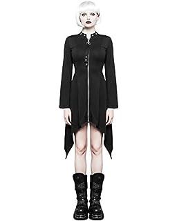 5bef25b16a87 Punk Rave Femmes Gothique Robe Noire Punk Dieselpunk sorcière Occulte  Manches Longues