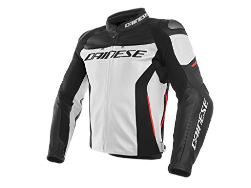 Dainese Men's Racing 3 Perf. Leather Jacket White/Black/Red for sale  Delivered anywhere in USA