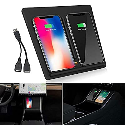 Handley Wireless Charger Pad,Double Fast Charging Pad Car Charging Station Compatible with 6.3-Inch QI Mobile Phones iPhone Xs Max/XR/XS/8/8 Plus Galaxy Note 8/5 Google Nexus 4/5/6 for Tesla Model 3
