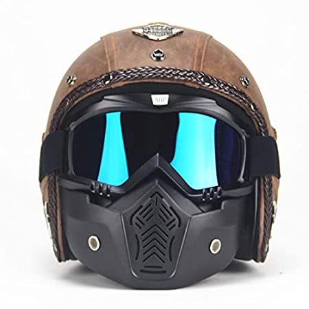 ETbotu Unisex PU Leather Helmets 3//4 Motorcycle Chopper Bike Helmet Open Face Vintage Motorbike Helmet with Goggle Mask Light brown XXL
