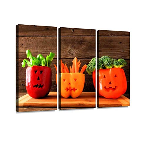 BELISIIS Halloween Vegetables on a Wood Background Wall Artwork Exclusive Photography Vintage Abstract Paintings Print on Canvas Home Decor Wall Art 3 Panels Framed Ready to Hang