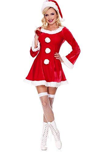 Sleigh Hottie Christmas Costume Adult Mrs Santa Claus Miss Helper Ms Fancy Dress (Misses Claus Costume)