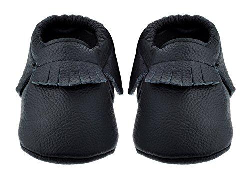 Sayoyo Quasten WeichesLeder Baby Mädchen Schuhe Kleinkinder Junge Schuhe Schwarz