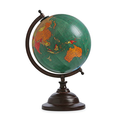 Handmade Antique Globe Iron Stand Rotating Word Map Globe Decorated Plastic Rotating Globe Decor Table Top Green Globe ()