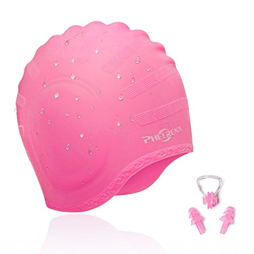 PHELRENA Swimming Cap Waterproof Premium Silicone Solid Long Hair Earmuffs Swim Cap Flexible Reversible for Adults Kids Women Men, Keeps Hair Clean Ear Dry, Free with Nose Clip and Ear Plugs