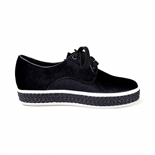 Latasa Womens Faux Suede Lace-up Flats Oxford Shoes Black DnsjkJKUUQ