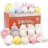Satkago Mochi Squishys Toys, 20 Pcs Mini Mochi Squishies Toys Party Favors for Kids Panda Squishys Kawaii Squishys Cat Stress Reliever Toys