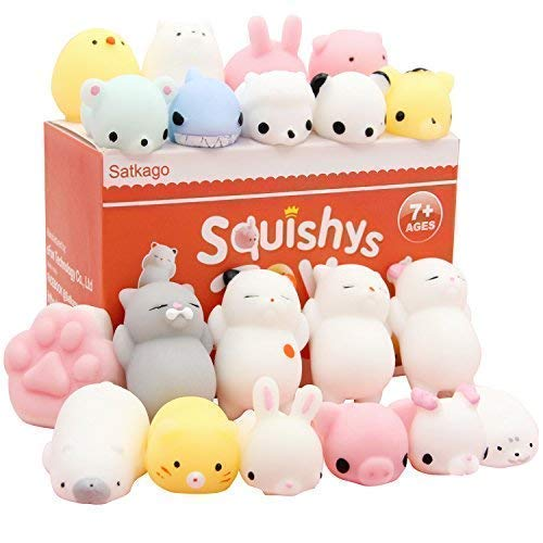 Satkago Mochi Squishies Toys, 20 Pcs Mini Mochi Squishys Toys Party Favors for Boy Girl Toys Panda Squishies Kawaii Squishies Cat Stress Reliever Toys]()