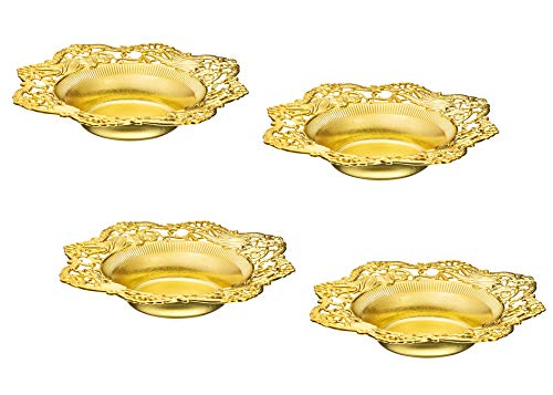 Impressive Creations Reusable Decorative Serving Dish - Plastic Candy Dish with Elegant Gold Finish - Functional and Vintage Design