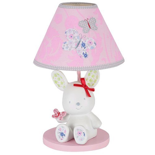 Just Born Antique Chic Nursery Lamp, Cute Bunny Base with Pink Butterfly Shade