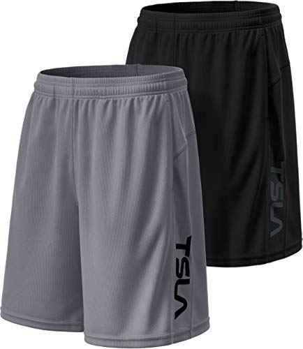 TSLA Men's HyperDri Cool Quick-Dry Active Lightweight Workout Performance Shorts (Pack of 2), Hyper Dri Dual Pack(mbh22) - Black/Blue, Medium