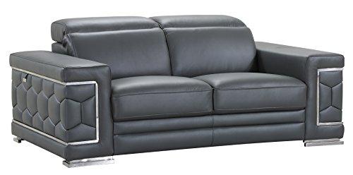 Blackjack Furniture The Usry Collection Genuine Italian Leather Upholstered Living Room Loveseat, Dark ()