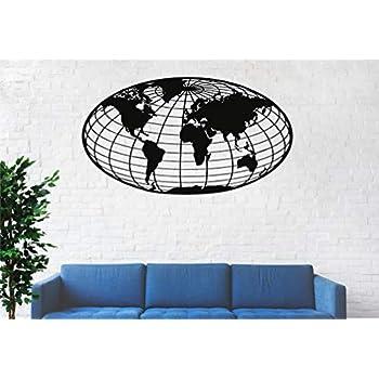 DEKADRON Metal World Map Globe Metal Wall Art 3D Wall Silhouette Metal Wall Decor Home Decoration Metal Sign World Map Wall Art (30