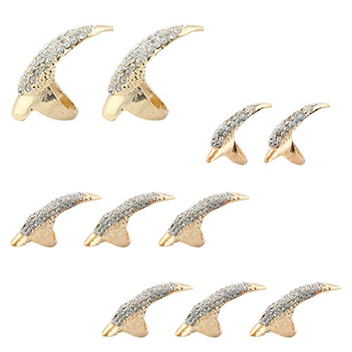 Halloween Cat Claw Nails (10pcs Halloween False Nail Alloy Gothic Punk Style Talon Claw Paw Finger Rings Cosplay Decoration (3)