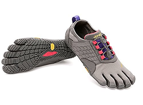 Vibram FiveFingers Women's Trek Ascent Barefoot Shoes Dark Grey/Lilac 39 & Pemium Toesock Bundle