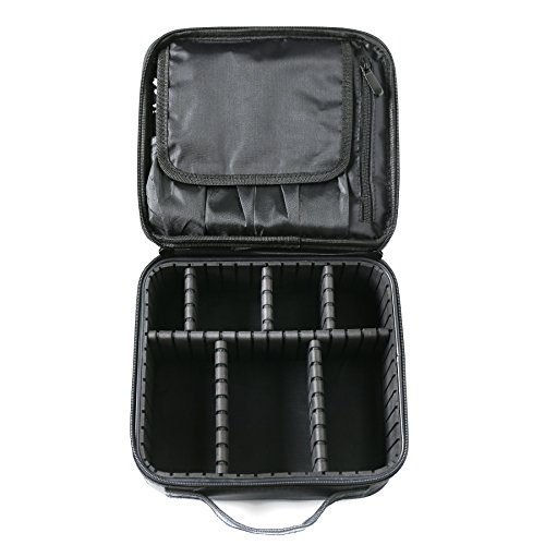 Travel Makeup Train Case, Gloriest Portable Travel Makeup Bag, 10 Inch Cosmetic Case Organizer with Adjustable Compartments Black