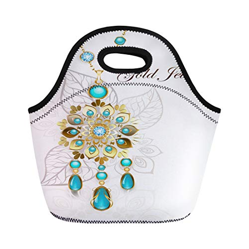Semtomn Lunch Bags Ethnic Gold Medallion Decorated in Oriental on Light Turquoise Neoprene Lunch Bag Lunchbox Tote Bag Portable Picnic Bag Cooler Bag