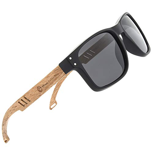 SKADINO Wood Sunglasses Polarized For Men&Women Grey Mirror Wood ()