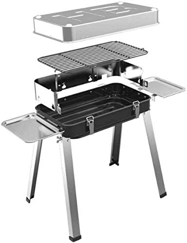 GBG Grill Pliable Portable, Avec Couvercle En Porcelaine Émaillée En Acier Inoxydable, Camping En Plein Air Famille Barbecue Party Pour 3-6 Personnes