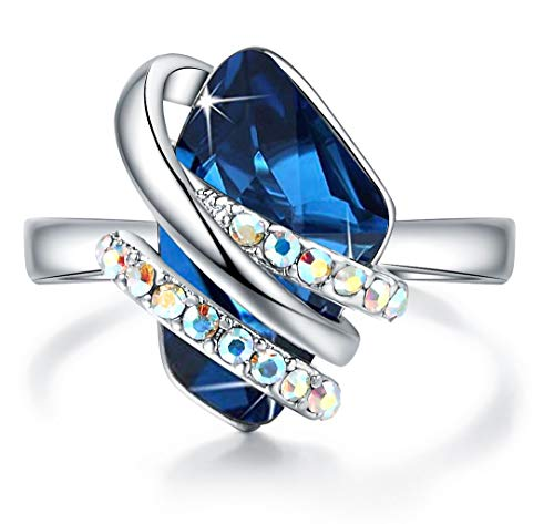 Leafael Wish Stone Women's Adjustable Open Ring Made with Swarovski Crystals (Sapphire Blue Silver Tone) Gifts for Women Mother Daughter September Birthstone Jewelry, Size 6.5-8 ()