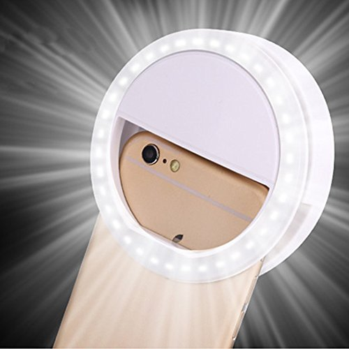 Happy Hours - Creative Led Cellphone Selfie Light / Stlyish Ring Clips Fill Light Camera Photography for iPhone Samsung Galaxy S6 S7 Blackberry Sony Xperia Motorola and All Smartphones(White)