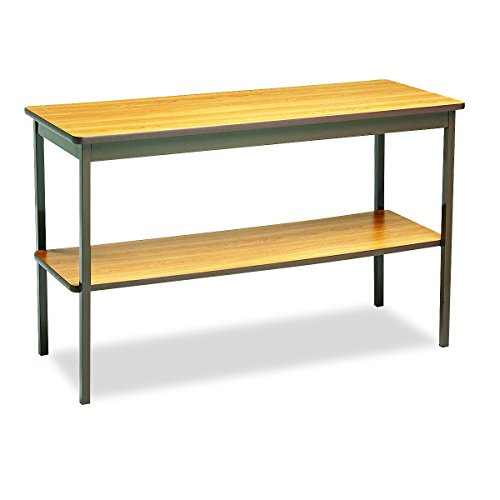 Barricks UTS1848LQ Utility Table with Bottom Shelf, Rectangular, 48w x 18d x 30h, Oak/Brown by Barricks