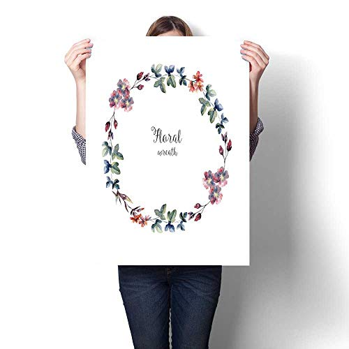 Anshesix Wall Art Canvas Prints Watercolor Floral Wreath Boundary for Card Cover Print Paintings for Home Wall Office Decor 32