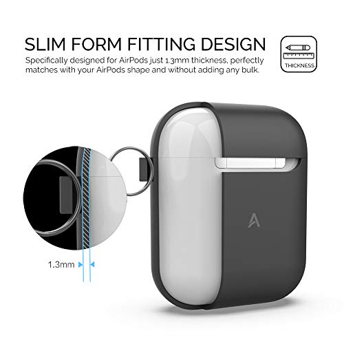 AhaStyle Silicone Case Cover Compatible with AirPods 2 Charging Case(with Carabiner, Black)